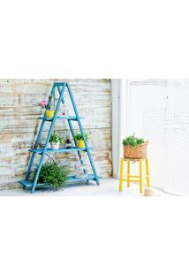 Estante Escada De Madeira Maciça Dobrável 3 Prateleiras Stain Azul Mão E Formão - 120X35X150 Cm