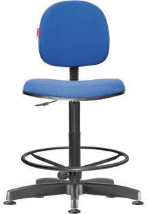 Cadeira Caixa Alta Executiva Giratória Crepe Azul Médio