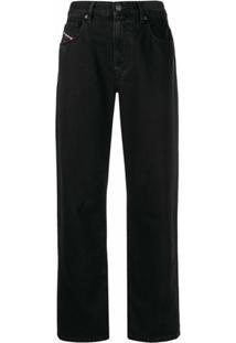 Diesel Calça Jeans Cropped Cintura Alta - Preto