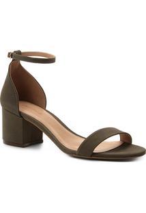Sandália Couro Shoestock Salto Bloco Naked Nobuck Feminina - Feminino-Verde