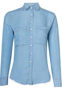 Camisa Ml Jeans C Bolso E Cava Deslocada (Jeans Claro, 40)
