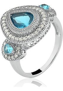 Anel Le Diamond Gota Água Marinha Azul