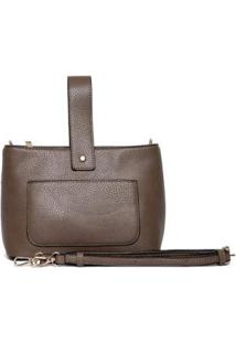 Bolsa Nice Bag Mini Alça Retrátil Mão Feminina - Feminino-Marrom