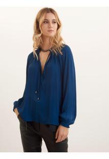 Blusa Bobô Pleats Azul Feminina (Azul Medio, M)