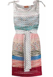 Missoni Mare Vestido De Crochê Listrado - Azul