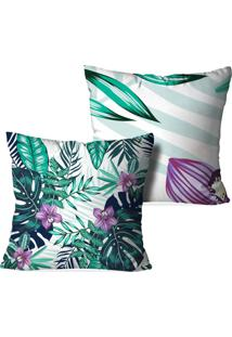 Kit 2 Capas Para Almofadas Decorativas Love Decor Floral Multicolorido Branca - Kanui