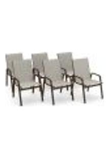 Kit 6 Cadeira Riviera Piscina Alumínio Marrom Tela Crepe