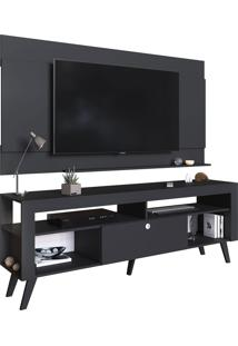 Home C/ Bancada E Painel Para Tv Até 70 Pol. Itália Preto Artinmóveis