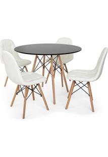 Conjunto Mesa Eiffel Preta 120Cm + 4 Cadeiras Dkr Charles Eames Wood Estofada Botonê - Branca