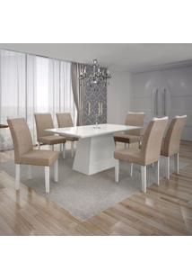 Conjunto Sala De Jantar Mesa Tampo Mdf/Vidro Branco E 6 Cadeiras Pampulha Leifer Branco/Linho Bege