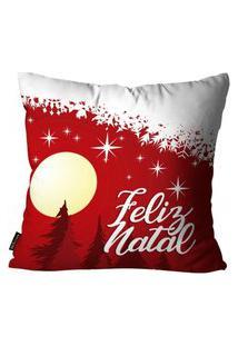 Capas Para Almofada Premium Cetim Mdecore Natal Feliz Natal Vermelha 45X45Cm