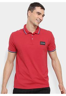 Camisa Polo Calvin Klein Mc Est Etiqueta Peito Masculina - Masculino-Vermelho