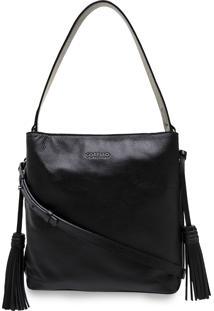 Bolsa Feminina Bucket Boho Couro Floater Corello Shoulder Bag Preto