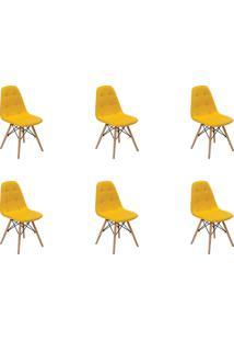 Kit 06 Cadeiras Eiffel Botone S/ Braço Amarela Rivatti