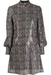 Olivia Rubin Vestido Melissa Com Paetês E Estampa De Leopardo - Marrom
