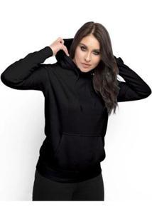 Moletom Feminino Liso Abrigo Inverno Blusa Casaco Com Capuz - Feminino-Preto