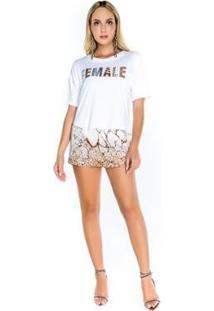 Blusa De Malha Com Bordado Caos Feminina - Feminino-Branco