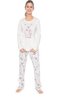 Pijama Espaço Pijama Estampado Off-White