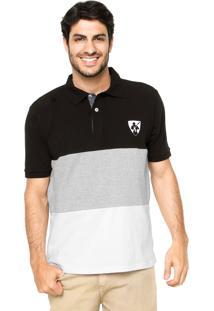 Camisa Polo Mr. Kitsch Manga Curta Pitcher Preta/Cinza