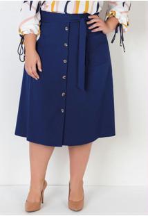 Saia Plus Size C/ Amarração E Botões Azul