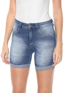 Bermuda Jeans Biotipo Ajustada Estonada Azul