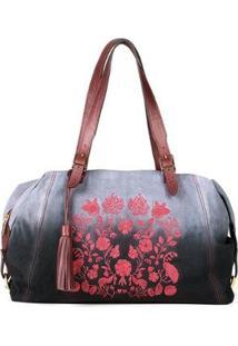 Bolsa Couro Blue Bags Tie Dye Bordado Floral Feminina - Feminino-Vinho