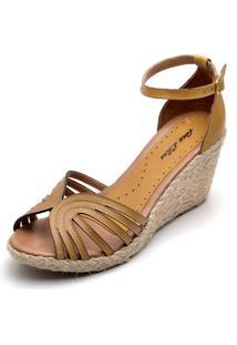Sandália Dr Shoes Anabela Amarelo - Kanui