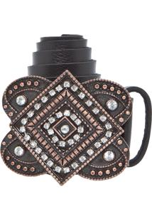 Cinto Dafiti Accessories Strass Preto