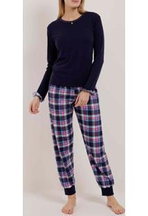 Pijama Longo Xadrez Feminino Azul Marinho