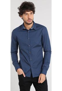 Camisa Masculina Slim Estampada Poá Manga Longa Azul Marinho