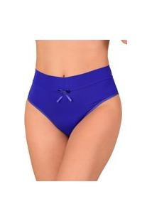 Calcinha Vip Lingerie Cós Duplo Microfibra Lisa Nude Azul