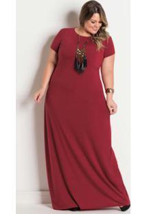 b58dcc603 -26% Vestido Longo Plus Size Bordô Com Decote Redondo