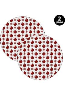 Capa Para Sousplat Mdecore Natal Bolas De Natal Branco 2Pçs