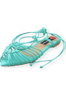 Sandalia Love Shoes Rasteira Bico Folha Amarração Tirinhas Verde Água