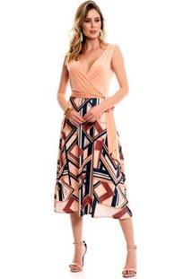 Vestido Bisô Midi Geométrico Feminino - Feminino-Rosa Claro