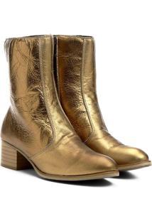 Bota Metalizada Em Couro- Dourada- Salto: 5,5Cmshoestock