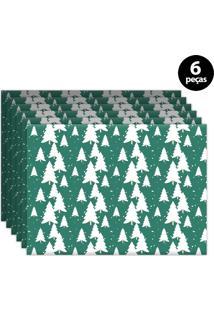 Jogo Americano Mdecore Árvores Natal 40X28Cm Verde 6Pçs