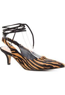 Scarpin Couro Shoestock Slingback Pelo Zebra Salto Baixo - Feminino-Zebra
