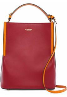 Burberry Bolsa Bucket Peggy Bicolor - Vermelho