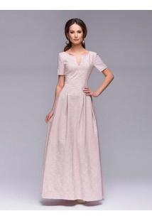 Vestido Longo Floral Com Laço - Rosa P