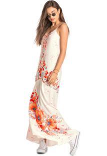 Vestido Bege Longo Floral