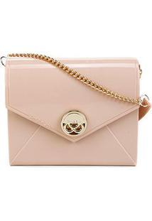 Bolsa Petite Jolie Mini Bag Verniz Alça Corrente Feminina - Feminino-Rosa Claro