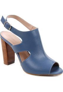 Ankle Boot Couro Shoestock Salto Alto Bloco Madeira - Feminino-Azul
