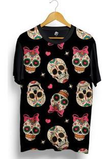 Camiseta Bsc Love Skull Full Print - Masculino-Preto