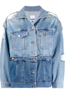 Sjyp Jaqueta Jeans Com Efeito Destroyed - Azul