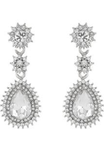 Brinco Pedraria Liage Pedra Gota Flor E Mini Strass Cristal Metal Prata