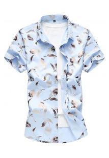Camisa Masculina Estampa De Rosas - Azul Claro