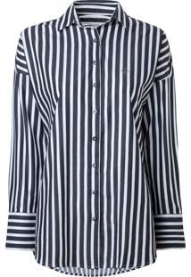 Camisa Dudalina Manga Longa Resort Feminina (Listrado, 44)