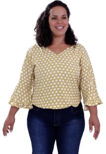 Blusa Arabela Viscose Plus Size Vickttoria Vick Plus Size Amarelo
