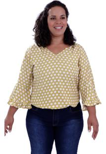 Blusa Vickttoria Vick Arabela Viscose Plus Size - Amarelo - Feminino - Dafiti